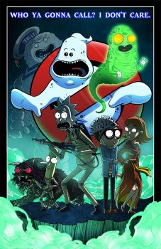 COLLAB PRINT - Rick and Morty Meet Ghostbusters by JoeHoganArt