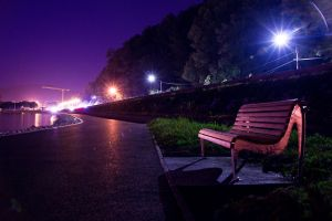 bench night by klefer