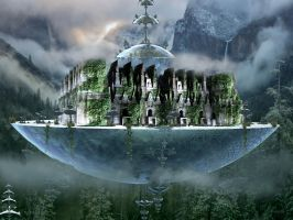 Castle on a floating island for Joe by marijeberting