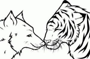 FREE Wolf And Tiger Lineart by Free-Line-Arts