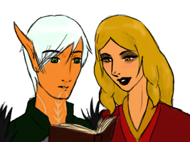 Hawke teaches Fenris coloured by InTheAier
