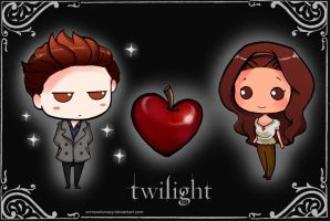 Chibi Edward+Bella by CrimsonLunacy