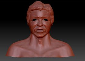 3D Harrison Ford Sculpture Front Untextured by Natefurry