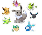 Shiny eeveelutions-Paint by Samus-Zero-Suit