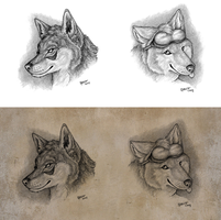 Portrait sketches V by Qzurr