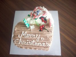 Top View Xmas Log Cake by bigheartedgirl