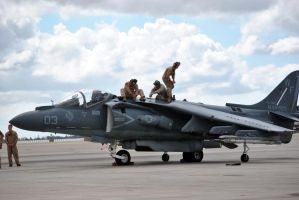 Ground crew on Harrier Jet by fosspathei