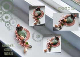 Green Opal Copper Pendant by tanyquil