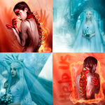 Fire and Ice Icon set by WakingTheFever