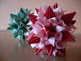 Pink And Green Kusudama II by happy96