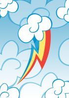 Rainbow Dash among the clouds by Eniacc
