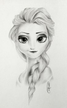 Elsa of Arendelle Pencil and Charcoal Portrait by artbycourtneyg
