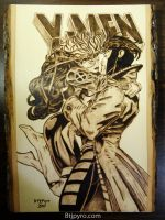 X-MEN: Rogue and Gambit comic - wood burning by brandojones