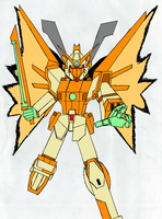 Neo Shining Gundam in hyper mode (black outline) by GAMEMASTER-THX