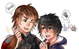 Doodle Hiccup and Hiro by zeneria29