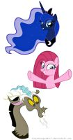 My little pony :Princess Luna, Pinkamena, Discord by pinkcupcake17