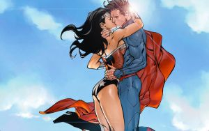 Wonder Woman/Superman Kiss by Xionice