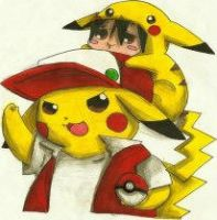 Pikachu and Red by MarcelaUrena
