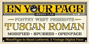 Tuscan Roman EnYourFace Vintage Print Font by Phrostbyte64