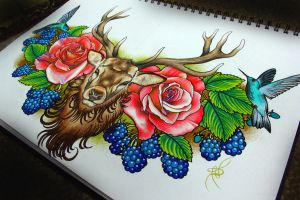 Deer roses and blackberries by NikaSamarina