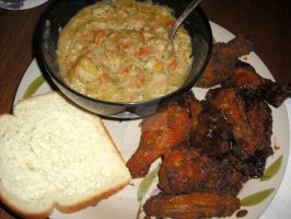 Clam Chowder Stew with Oven Baked Wings Closeup by Black-Destiny