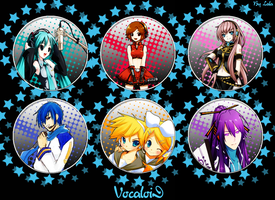 Vocaloids Buttons by Lala-Kagamine