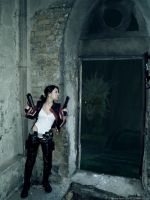 Lara Croft vs Snake monster by TanyaCroft
