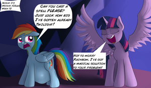 Rainbow Dash and Twilight preg/growth (1) by fiftyfivefives