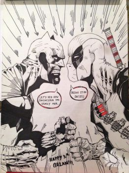 Batman VS Deadpool by Nick-Bray