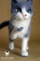 Grey and white needle felted pose-able cat by SaniAmaniCrafts