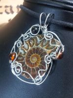 Ammonite with Amber and Jet in Silver by BacktoEarthCreations