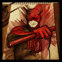Playing with watercolour pencils - Daredevil by teflonmonkey