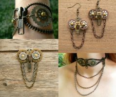 Steampunk Owl Zipper Jewelry by deathbysunset