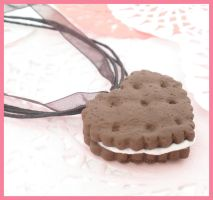 Ice Cream Cookie Heart Charm by ChibiWorks