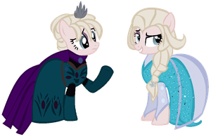 .:Elsa Coronation and Queen:. by Nekochnyan