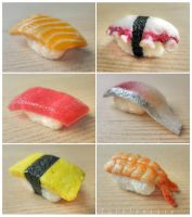 miniature sushi - assorted nigiri details by FatalPotato