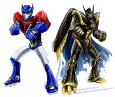 $10 sketch Opt. Prime+Alphamon by slifertheskydragon