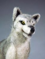 Needle Felted Gray Wolf 2 Head by The-GoblinQueen