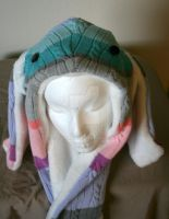 Pastel Palette Bunny Hat with Pockets Face by Tzigana