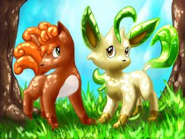 Vulpix and Leafeon by Togechu