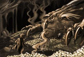 Bilbo and Smaug by Mudora