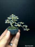 Gold Silver semicascade wire bonsai tree by Ken To by KenToArt