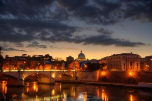 Sunset over the Tiber by Sguarditravolti