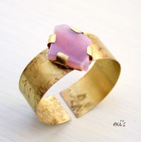 Natural Oxidised Bracelet Cuff with Pink Agate by IoannaEvans