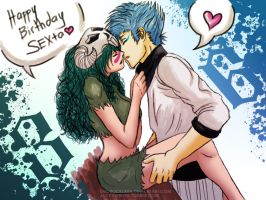 MESSY PAINT: Grimmjow x Nelliel [REQUEST] by emorocklara
