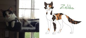 My Cat As A Drawing: Zelda by PainterRaven