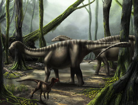 Ornitholestes And Young Sauropods by VizaCZ