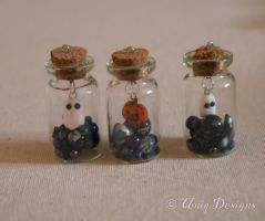 Spooky charm bottles by Moon-Q