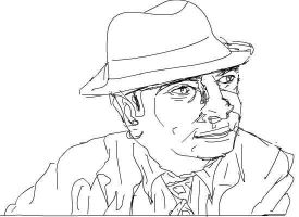 Bob Hoskins (Tribute drawing) lineart by cobra10