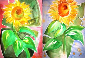 Sunflowers, warm and cool by chai--tyto